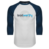 White/Navy Raglan Baseball T Shirt-Leadworthy