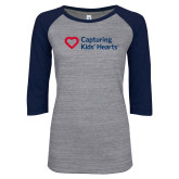 ENZA Ladies Athletic Heather/Navy Vintage Triblend Baseball Tee-Capturing Kids Hearts