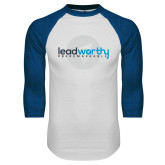 White/Royal Raglan Baseball T Shirt-Leadworthy