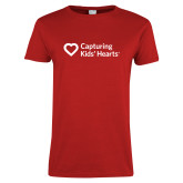 Ladies Red T Shirt-Capturing Kids Hearts