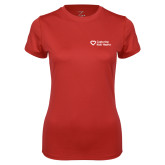 Ladies Syntrel Performance Red Tee-Capturing Kids Hearts