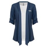 Ladies Navy Drape Front Cardigan-Flippen Group