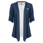 Ladies Navy Drape Front Cardigan-Capturing Kids Hearts