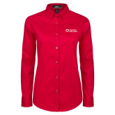 Ladies Red Twill Button Down Long Sleeve-Capturing Kids Hearts