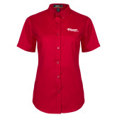 Ladies Red Twill Button Up Short Sleeve-Flippen Group