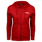 ENZA Ladies Red Fleece Full Zip Hoodie-Flippen Group