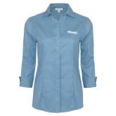 Ladies Red House Light Blue 3/4 Sleeve Shirt-Flippen Group