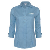 Ladies Red House Light Blue 3/4 Sleeve Shirt-Capturing Kids Hearts