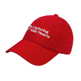 Red Twill Unstructured Low Profile Hat-Capturing Kids Hearts