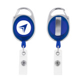 Blue Oval Retractable Badge Holder w/Clip-Circle Arrow
