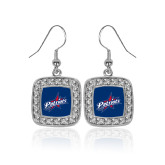 Crystal Studded Square Pendant Silver Dangle Earrings-Patriots Star