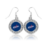 Crystal Studded Round Pendant Silver Dangle Earrings-Patriots Star