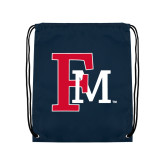 Navy Drawstring Backpack-Interlocking FM