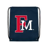 Navy Drawstring Backpack-Interlocking FM