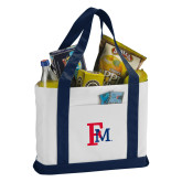 Contender White/Navy Canvas Tote-Interlocking FM