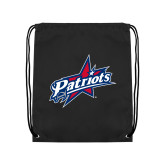 Black Drawstring Backpack-Patriots Star