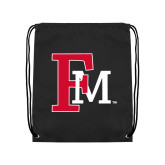 Black Drawstring Backpack-Interlocking FM