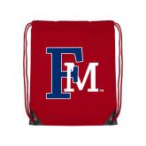 Red Drawstring Backpack-Interlocking FM