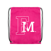 Pink Drawstring Backpack-Interlocking FM