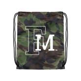 Camo Drawstring Backpack-Interlocking FM