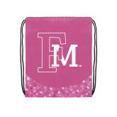 Nylon Pink Bubble Patterned Drawstring Backpack-Interlocking FM