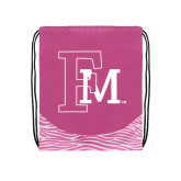 Nylon Zebra Pink/White Patterned Drawstring Backpack-Interlocking FM