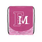 Nylon Zebra Pink/White Patterned Drawstring Backpack-Interlocking FM