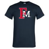 Navy T Shirt-Interlocking FM