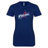 Next Level Ladies SoftStyle Junior Fitted Navy Tee-Patriots Star