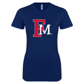 Next Level Ladies SoftStyle Junior Fitted Navy Tee-Interlocking FM