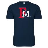 Next Level SoftStyle Navy T Shirt-Interlocking FM