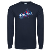 Navy Long Sleeve T Shirt-Patriots Star Distressed