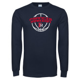 Navy Long Sleeve T Shirt-Basketball Arched FM