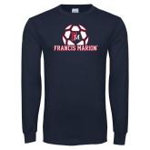 Navy Long Sleeve T Shirt-Soccer Geometric Ball FM