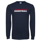 Navy Long Sleeve T Shirt-Basketball Stacked