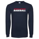 Navy Long Sleeve T Shirt-Baseball Stacked