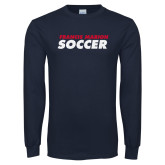 Navy Long Sleeve T Shirt-Soccer Stacked