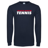 Navy Long Sleeve T Shirt-Tennis Stacked