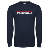 Navy Long Sleeve T Shirt-Volleyball Stacked