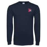 Navy Long Sleeve T Shirt-Interlocking FM