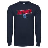 Navy Long Sleeve T Shirt-Patriots Slant