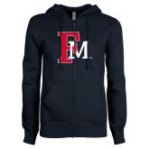 ENZA Ladies Navy Fleece Full Zip Hoodie-Interlocking FM
