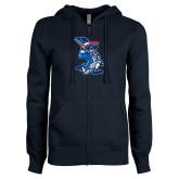 ENZA Ladies Navy Fleece Full Zip Hoodie-The Patriot