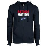ENZA Ladies Navy Fleece Full Zip Hoodie-Patriot Nation