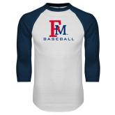 White/Navy Raglan Baseball T-Shirt-FM Baseball