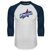 White/Navy Raglan Baseball T-Shirt-Patriots Star