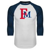 White/Navy Raglan Baseball T-Shirt-Interlocking FM