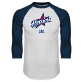 White/Navy Raglan Baseball T-Shirt-Dad