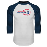 White/Navy Raglan Baseball T-Shirt-Baseball on Right