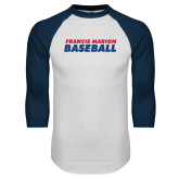 White/Navy Raglan Baseball T-Shirt-Baseball Stacked